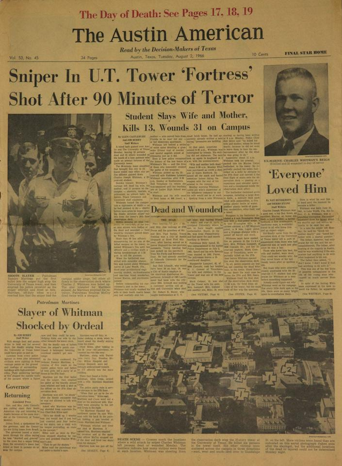 Front page newsprint of the Austin American-Statesman newspaper on August 2, 1966 after the deadly shooting by Charles Whitman at the UT Tower.