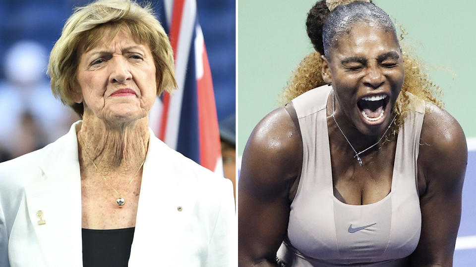 Margaret Court and Serena Williams, pictured here on the tennis court.