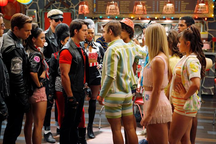 """The bikers and surfers tussle in a turf war in """"Teen Beach Movie."""""""