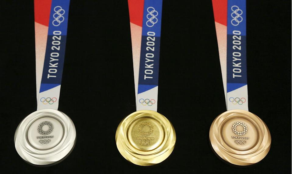 Tokyo 2020 Olympic medals were unveiled during a 2019 One Year to Go Olympic ceremony event in Tokyo.