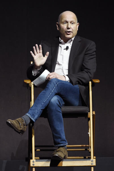 """Chris Meledandri, founder and CEO of Illumination Entertainment, discusses the upcoming animated film """"Despicable Me 3"""" during the Universal Pictures presentation at CinemaCon 2017 at Caesars Palace on Wednesday, March 29, 2017, in Las Vegas. (Photo by Chris Pizzello/Invision/AP)"""