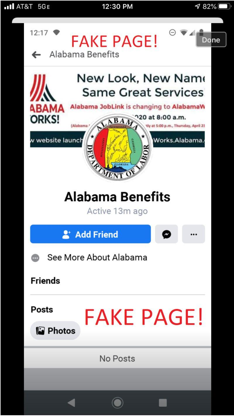 "This scam social media page purported to originate with the Alabama Department of Labor. (Photo: <a href=""https://www.labor.alabama.gov/news_feed/News_Page.aspx?id=236"" target=""_blank"">Alabama Department Of Labor </a>)"