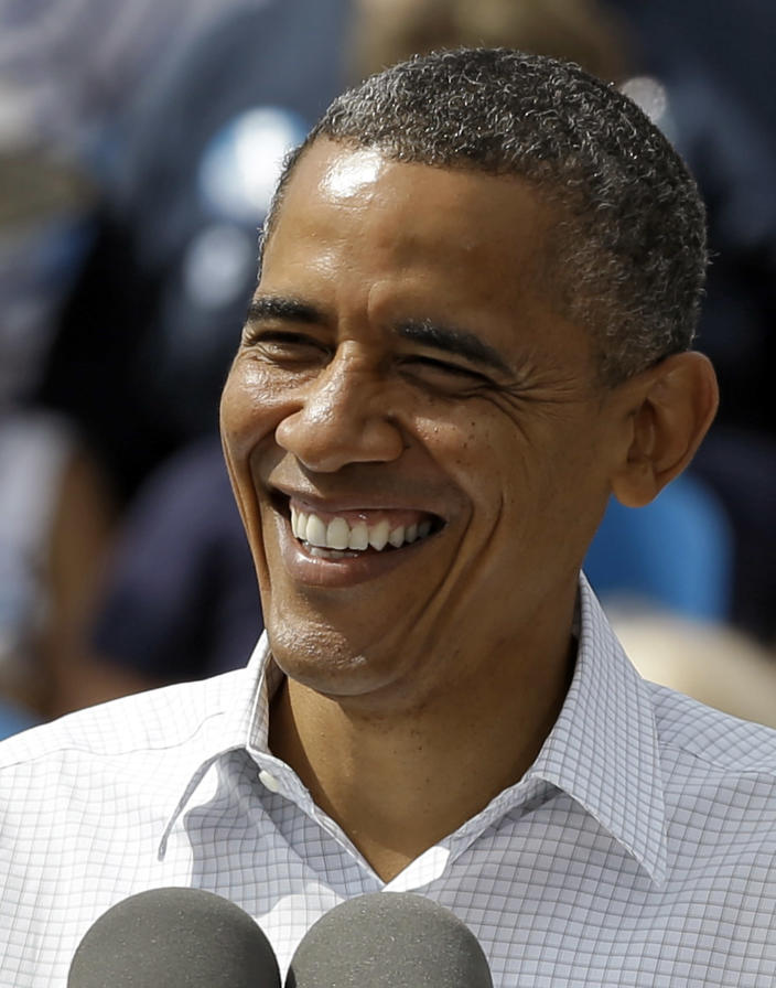 President Obama smiles at supporters during a campaign rally Saturday, Sept. 8, 2012, in Seminole, Fla. (AP Photo/Chris O'Meara)