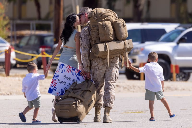 U.S. Marines who had been deployed to Afghanistan reached their home base on Sunday