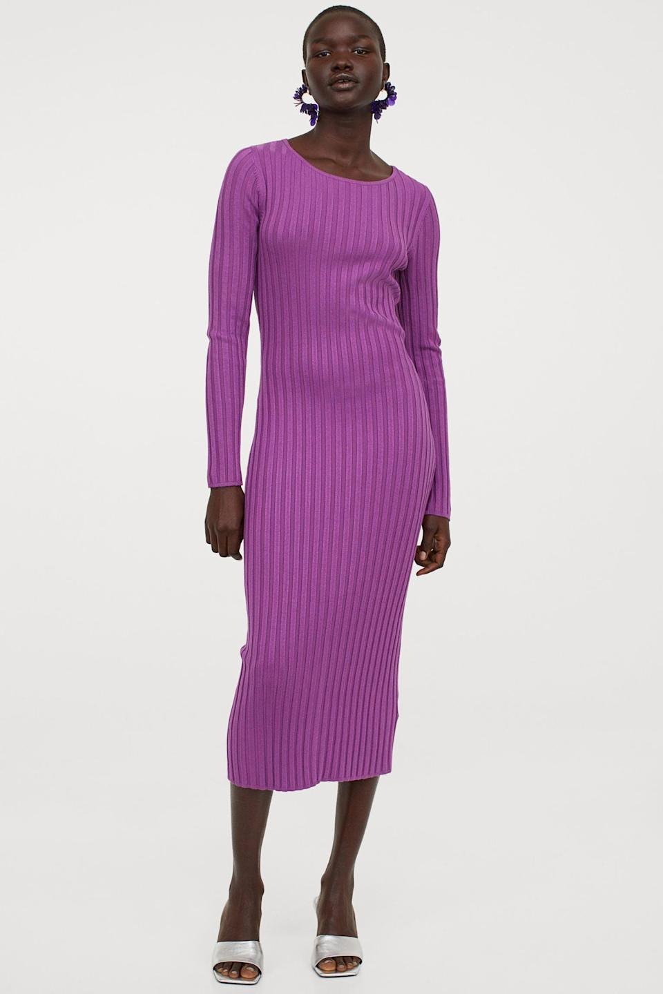 <p>Nothing like the pop of color from this eye-catching <span>Rib-Knit Dress</span> ($32, originally $40).</p>