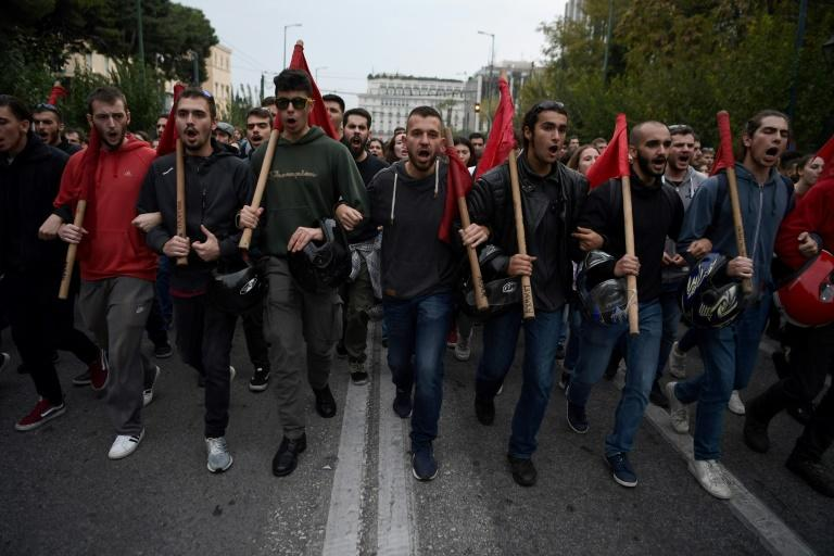 Over 30,000 Greeks demonstrated in Athens and other major cities under a heavy police presence Sunday to mark the anniversary of a 1973 anti-junta uprising (AFP Photo/ARIS MESSINIS)