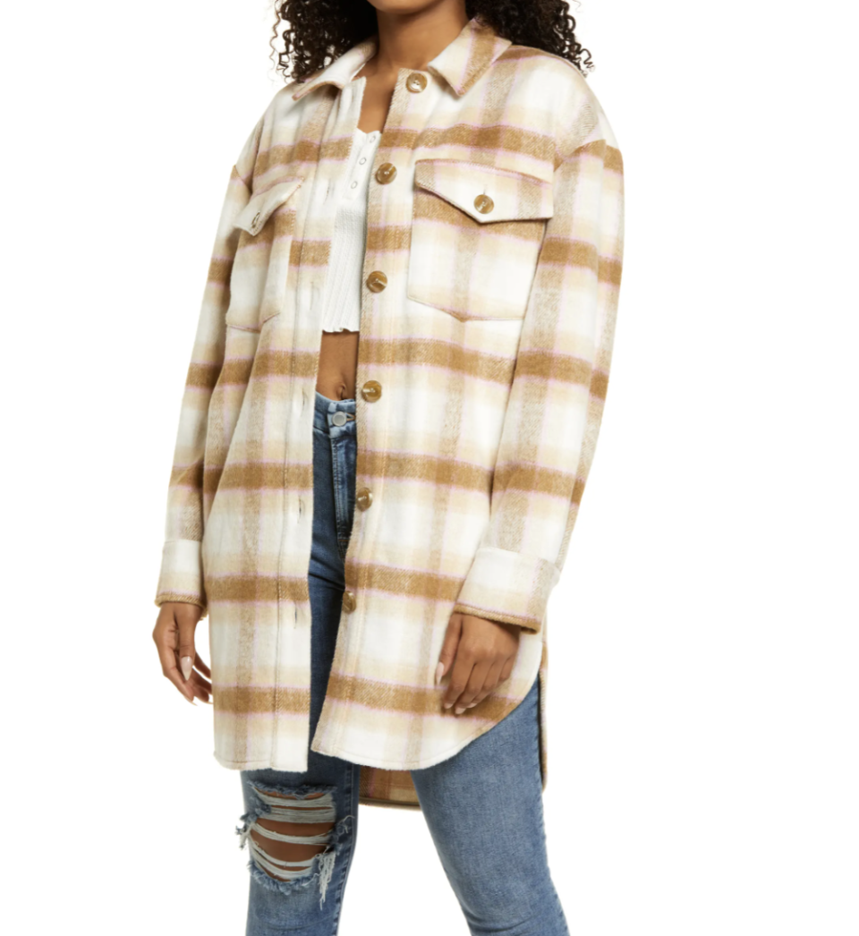 model wearing brown beige and white checked BP. Brushed Plaid Oversize Shirt Jacket