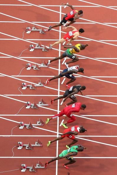 LONDON, ENGLAND - AUGUST 05:  Usain Bolt of Jamaica leaves the starters block during the Men's 100m Semifinal on Day 9 of the London 2012 Olympic Games at the Olympic Stadium on August 5, 2012 in London, England.  (Photo by Ian Walton/Getty Images)