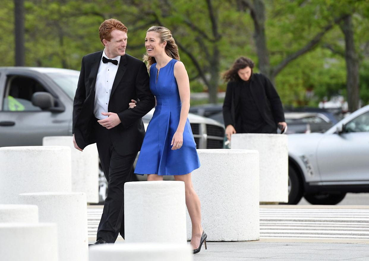 Rep. Joe Kennedy III and his wife Lauren Anne Birchfield arrive at the John F. Kennedy Presidential Library in Boston. (Photo: Faith Ninivaggi/Reuters)