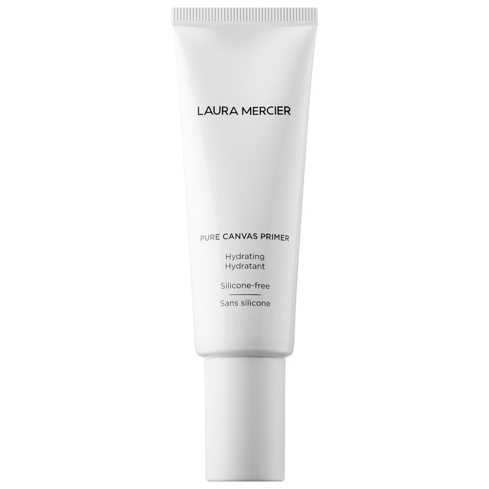 """<p>Naturally, this water-based <product href=""""https://www.sephora.com/product/laura-mercier-pure-canvas-primer-hydrating-hydratant-P454942?skuId=2303824&amp;icid2=products%20grid:p454942"""" target=""""_blank"""" class=""""ga-track"""" data-ga-category=""""internal click"""" data-ga-label=""""https://www.sephora.com/product/laura-mercier-pure-canvas-primer-hydrating-hydratant-P454942?skuId=2303824&amp;icid2=products%20grid:p454942"""" data-ga-action=""""body text link"""">Laura Mercier Pure Canvas Primer - Hydrating</product> ($20-$38) adds moisture - making it a good option for dry skin - but it also creates a protective barrier that allows face makeup to last longer. Oh, and did we forget to mention it's got a 95 percent approval rating from other shoppers, too?</p>"""
