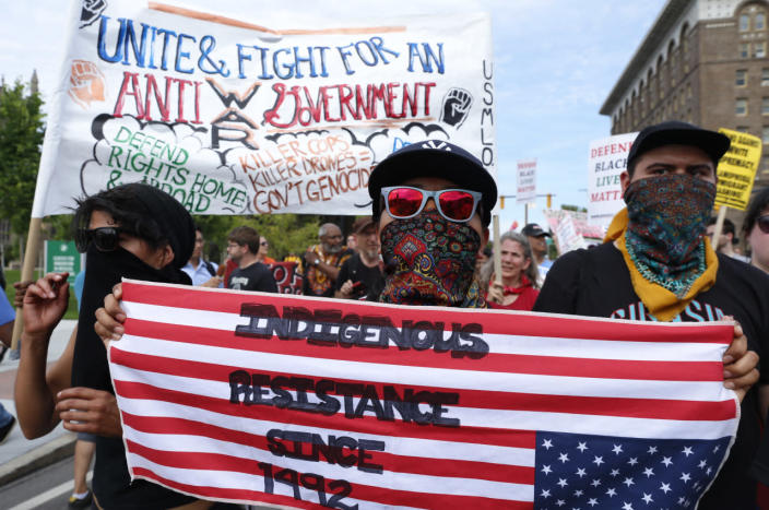 <p>Demonstrators join in a march by various groups — including Black Lives Matter and Shut Down Trump and the RNC — ahead of the Republican National Convention in Cleveland, Ohio, on July 17, 2016. (Photo: Lucas Jackson/Reuters)</p>