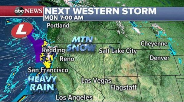 PHOTO: More rain and snow will move onto the West Coast on Monday morning. (ABC News)
