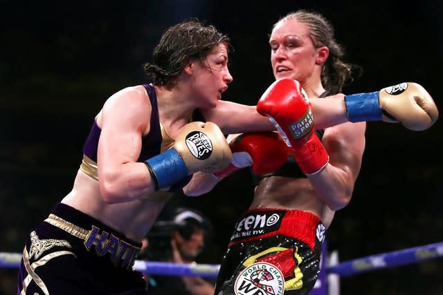 Katie Taylor, left, is eager for a rematch with Delfine Persoon (Nick Potts/PA)
