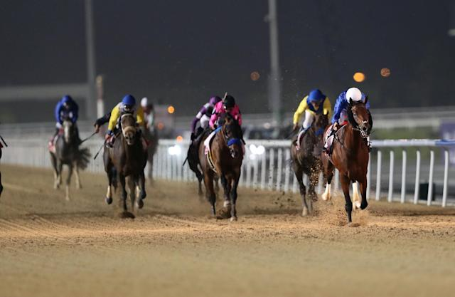 Horse Racing - Dubai World Cup 2018 - Meydan Racecourse, Dubai - United Arab Emirates - March 31, 2018 - Christophe Soumillon rides Thunder Snow from Ireland to the finish line to win the Ninth and Final Race. REUTERS/Ahmed Jadallah