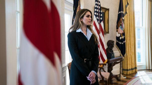 PHOTO: White House Communications Director Hope Hicks stand by as President Donald Trump speaks during a meeting in the Oval Office at the White House, Feb. 9, 2018. (The Washington Post via Getty Images, FILE)