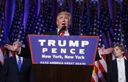 Republican U.S. president-elect Donald Trump speaks at his election night rally in Manhattan, New York