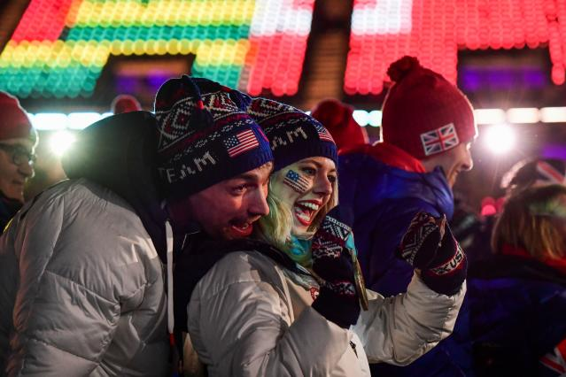 <p>USA athletes take part in the closing ceremony of the Pyeongchang 2018 Winter Olympic Games at the Pyeongchang Stadium on February 25, 2018. / AFP PHOTO / Martin BERNETTI </p>