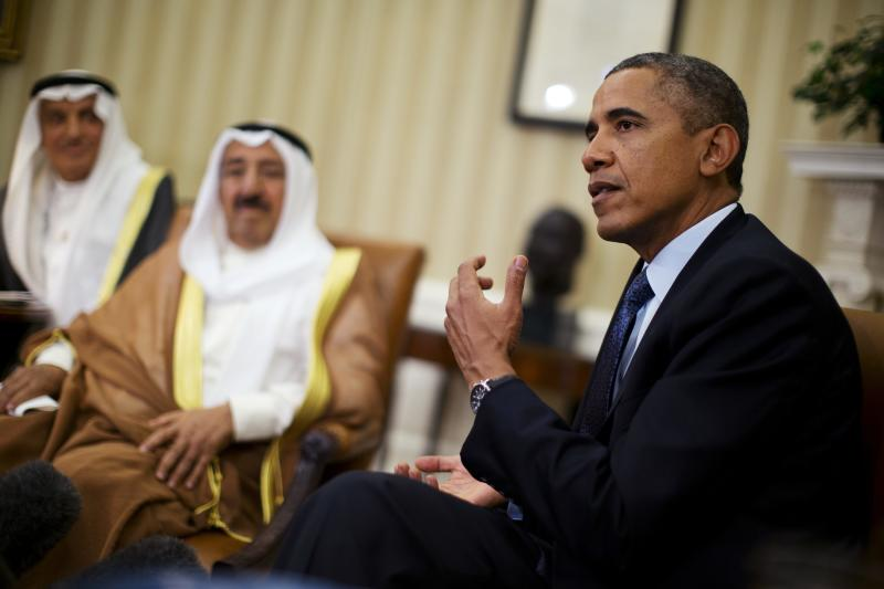 "U.S. President Barack Obama meets Sheikh Sabah al-Ahmad al-Jaber al-Sabah, Kuwait's emir, in the Oval Office of the White House in Washington, September 13, 2013. Obama said on Friday that he hopes talks on a plan to destroy Syria's chemical weapons are successful, but said that he will insist any deal is ""verifiable and enforceable."" REUTERS/Jason Reed (UNITED STATES - Tags: POLITICS CONFLICT)"