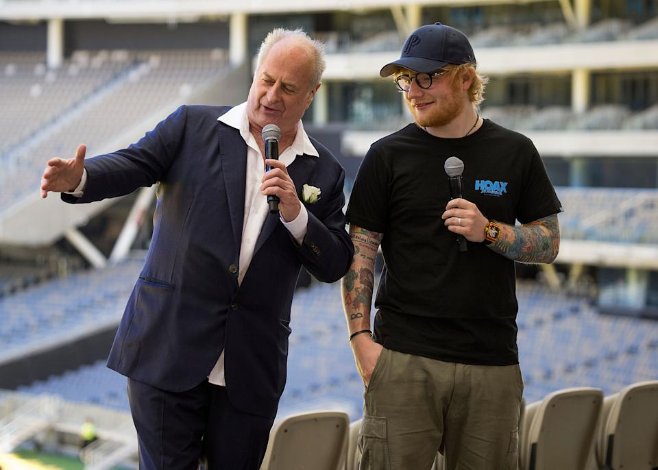 Ed Sheeran with Promoter Michael Gudinski at Optus Stadium during a media call for the launch of a record-breaking Australian and New Zealand Tour on March 1, 2018 in Perth, Australia