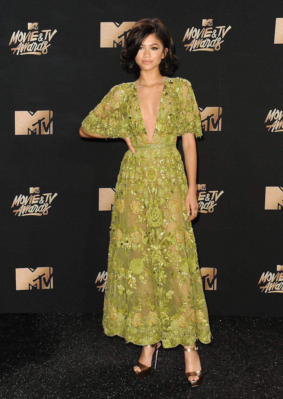 <p>The color! The beading! The material! There's way too much to love about the Zuhair Murad dress she wore to the MTV Movie Awards in 2017.</p>