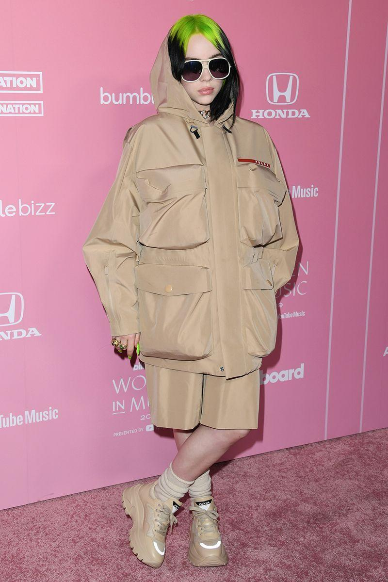 <p>Billie was Prada postman-chic arriving at the Billboard Women in Music Awards last year. Slime green and beige go surprisingly well together, no? </p>