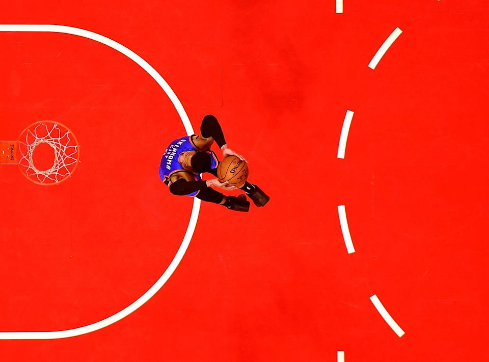 Russell Westbrook, in flight. (Harry How/Getty Images)