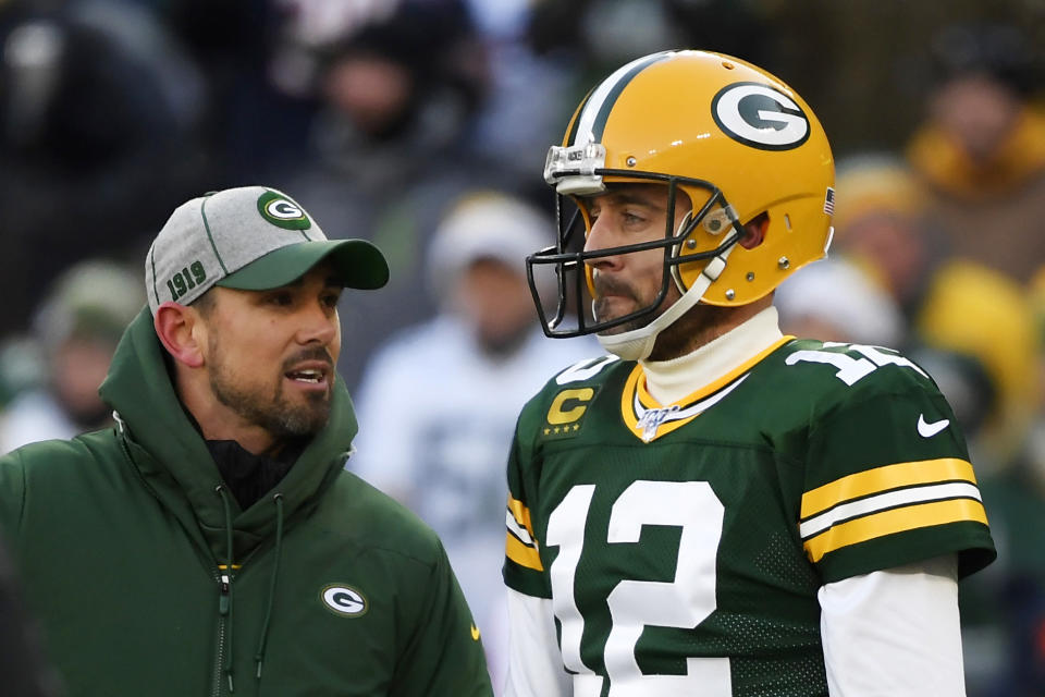 Packers coach Matt LaFleur and Aaron Rodgers should have high hopes after a 13-3 season. (Photo by Quinn Harris/Getty Images)