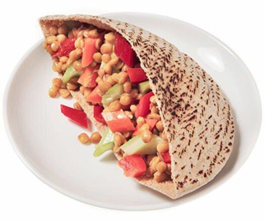 """<p>This recipe creates enough filling for four pita sandwiches. If you like, make extra of the healthy sandwich filling to eat as a side salad throughout the week.</p> <p><strong>Healthy Sandwich Calorie Count: </strong>286</p> <p>In a large bowl, combine first 1 cup chopped romaine lettuce, 3 ounces crumbled feta cheese, 1 cup seeded and chopped cucumbers, 1 cup each chopped red and green peppers, 1/4 cup chopped red onion, and 2 tablespoons chopped fresh parsley. In a small bowl, whisk together 2 tablespoons lemon juice, 1 tablespoon extra virgin olive oil, 1 teaspoon oregano. Salt and pepper to taste, pour dressing over salad blend and stuff inside 4 pitas to complete the healthy sandwich. (Related: <a href=""""https://www.shape.com/healthy-eating/healthy-recipes/3-ingredient-easy-salad-dressings"""" target=""""_blank"""">3-Ingredient Salad Dressings You Can Whip Up In No Time</a>)</p>"""