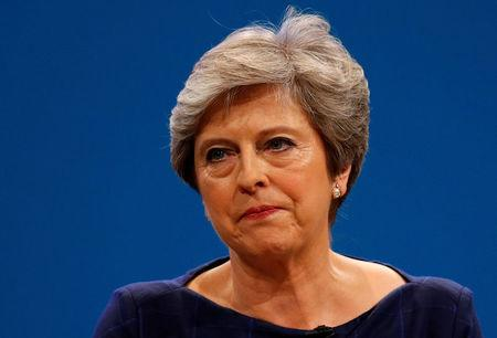 Britain's Prime Minister Theresa May addresses the Conservative Party conference in Manchester