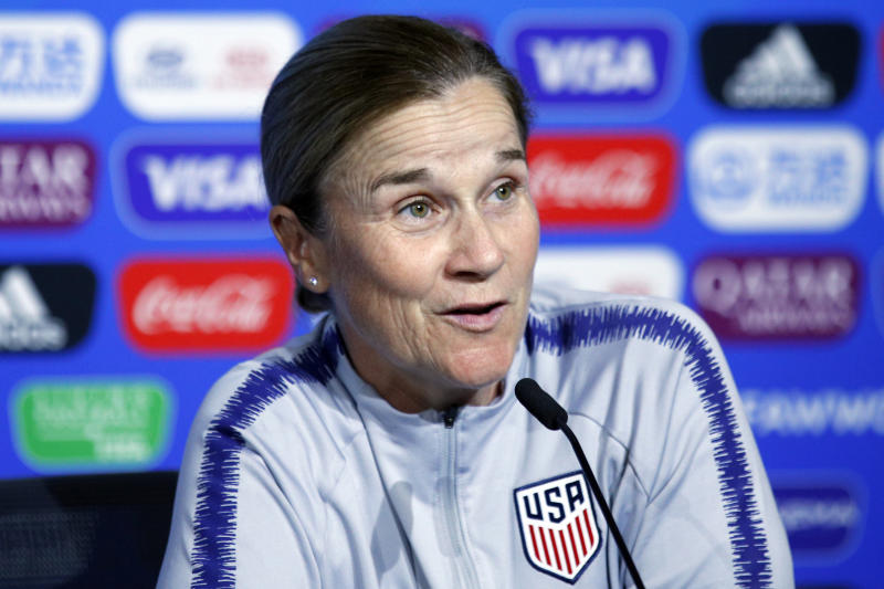 FILE - In this July 6, 2019 file photo United States coach Jill Ellis attends a news conference at the Stade de Lyon, outside Lyon, France. A person with knowledge of the situation says Ellis is stepping down after leading the team to back-to-back Women's World Cup titles. The person spoke on the condition of anonymity Tuesday, July 30, 2019 because the resignation has not been officially announced. (AP Photo/Francois Mori, file)