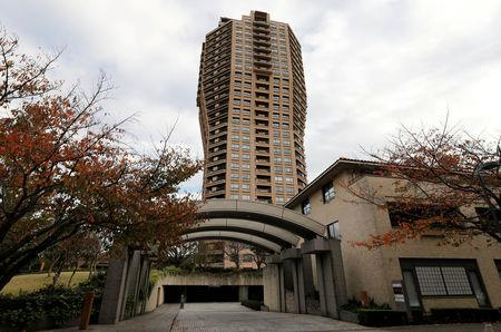 FILE PHOTO : An apartment block where Nissan Chairman Carlos Ghosn is believed to have a residence, is pictured in Tokyo