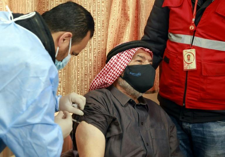 Medics have taken the vaccine to refugee camps such as this one in Jordan