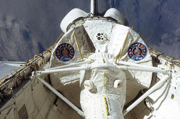 The European Space Agency's (ESA) Spacelab module is seen in the payload bay of space shuttle Columbia during the lab's first spaceflight on the STS-9 mission in 1983.