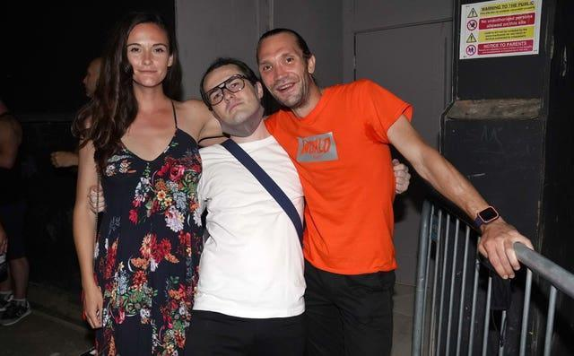 (Left to right) Chloe Waite, Gabriel Wildsmith and Alex Clarke queue up for the Egg nightclub in London