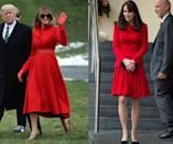 <p>Red is certainly one of the first lady's favorite colors, having worn the bright shade to many important events in recent months, but the Duchess of Cambridge favors it as well. FLOTUS went so far as to match her red leather gloves to her Alice Roi jacket for a March trip, but Middleton kept things simple in 2014 with a black clutch and simple heels. (Photos: Getty Images) </p>