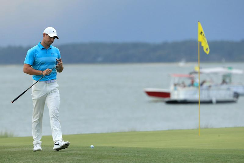 Rory McIlroy of Northern Ireland walks on the 18th green during the second round of the RBC Heritage on June 19, 2020, at Harbour Town Golf Links in Hilton Head Island, South Carolina.
