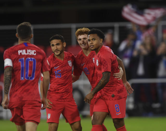 Weston Mckennie (right) and the U.S. men's national team destroyed Cuba on Friday in the Americans CONCACAF Nations League opener. (Toni L. Sandys/Getty)