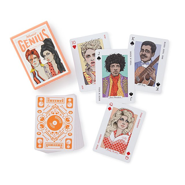 "<br><br><strong>Genius</strong> Music Playing Cards, $, available at <a href=""https://go.skimresources.com/?id=30283X879131&url=https%3A%2F%2Fwww.uncommongoods.com%2Fproduct%2Fmusic-playing-cards"" rel=""nofollow noopener"" target=""_blank"" data-ylk=""slk:Uncommon Goods"" class=""link rapid-noclick-resp"">Uncommon Goods</a>"