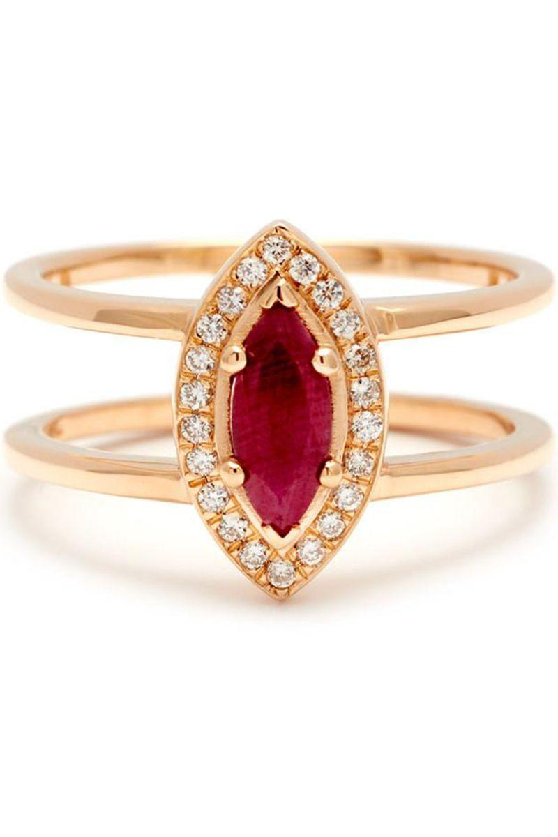 "<p>Rubies cut in a marquise shape are regal in look and feel. This ring is made more modern with the geometric look if its double gold band. </p><p><em>""Attelage"" marquise cut ring, $5,300, <a href=""https://www.annasheffield.com/products/attelage-marquise-cut-ring-yellow-gold-ruby"" rel=""nofollow noopener"" target=""_blank"" data-ylk=""slk:annasheffield.com"" class=""link rapid-noclick-resp"">annasheffield.com</a>.</em></p><p><a class=""link rapid-noclick-resp"" href=""https://www.annasheffield.com/products/attelage-marquise-cut-ring-yellow-gold-ruby"" rel=""nofollow noopener"" target=""_blank"" data-ylk=""slk:SHOP"">SHOP</a></p>"