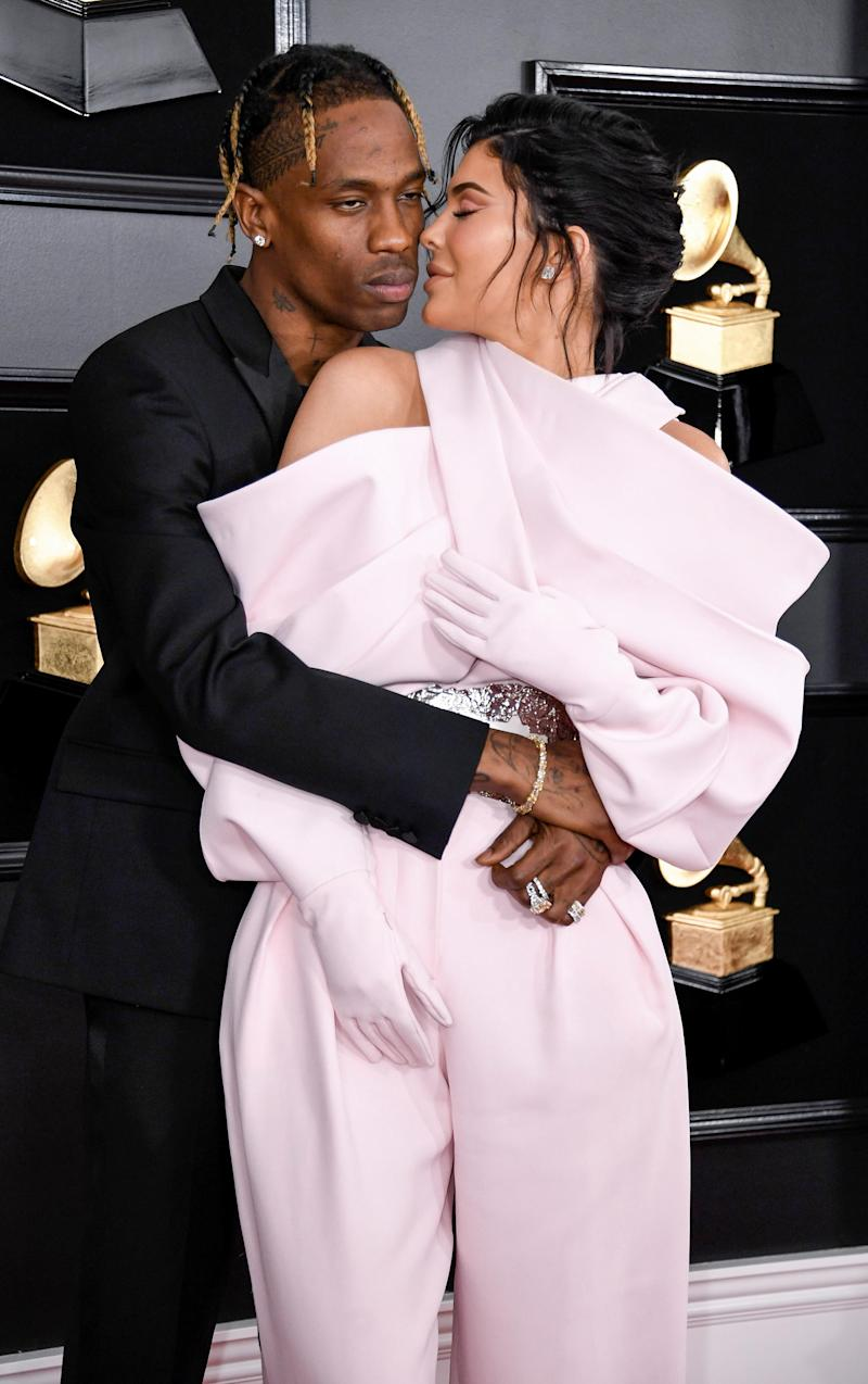 b13931f7c057 Kylie Jenner and Travis Scott Show Sweet PDA on 2019 Grammys Red Carpet