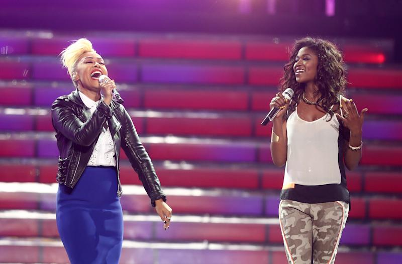 """Emeli Sande, left, and Amber Holcomb perform at the """"American Idol"""" finale at the Nokia Theatre at L.A. Live on Thursday, May 16, 2013, in Los Angeles. (Photo by Matt Sayles/Invision/AP)"""