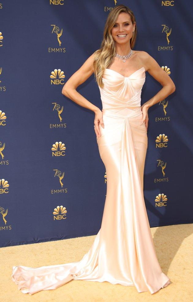 "Heidi Klum, who Karl Lagerfeld described as ""too heavy"" to be a model, at the 70th Emmy Awards on Sept. 17, 2018."