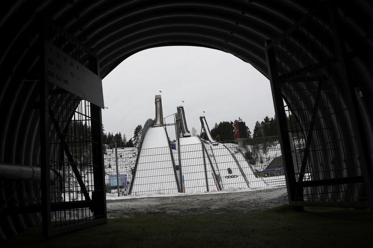 Nordics Skiing - FIS Nordics Ski World Championships - Ski Jumping Training - Lahti, Finland - 22/2/17 - A general view shows the ski jumping area after the training was cancelled due to heavy winds.  REUTERS/Kai Pfaffenbach