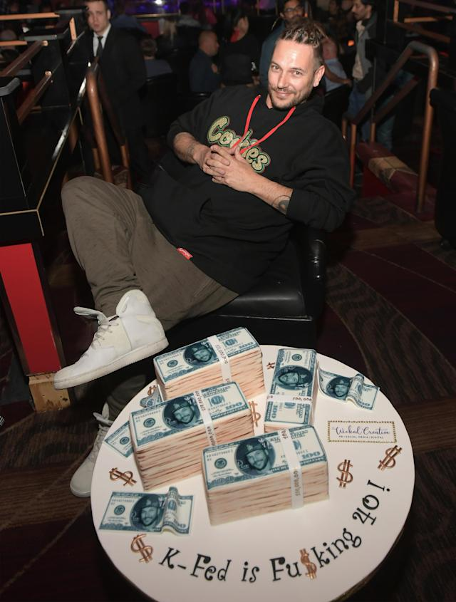 Kevin Federline celebrates his birthday at the Crazy Horse III Gentlemen's Club on March 24, 2018, in Las Vegas. (Photo: Bryan Steffy/WireImage)