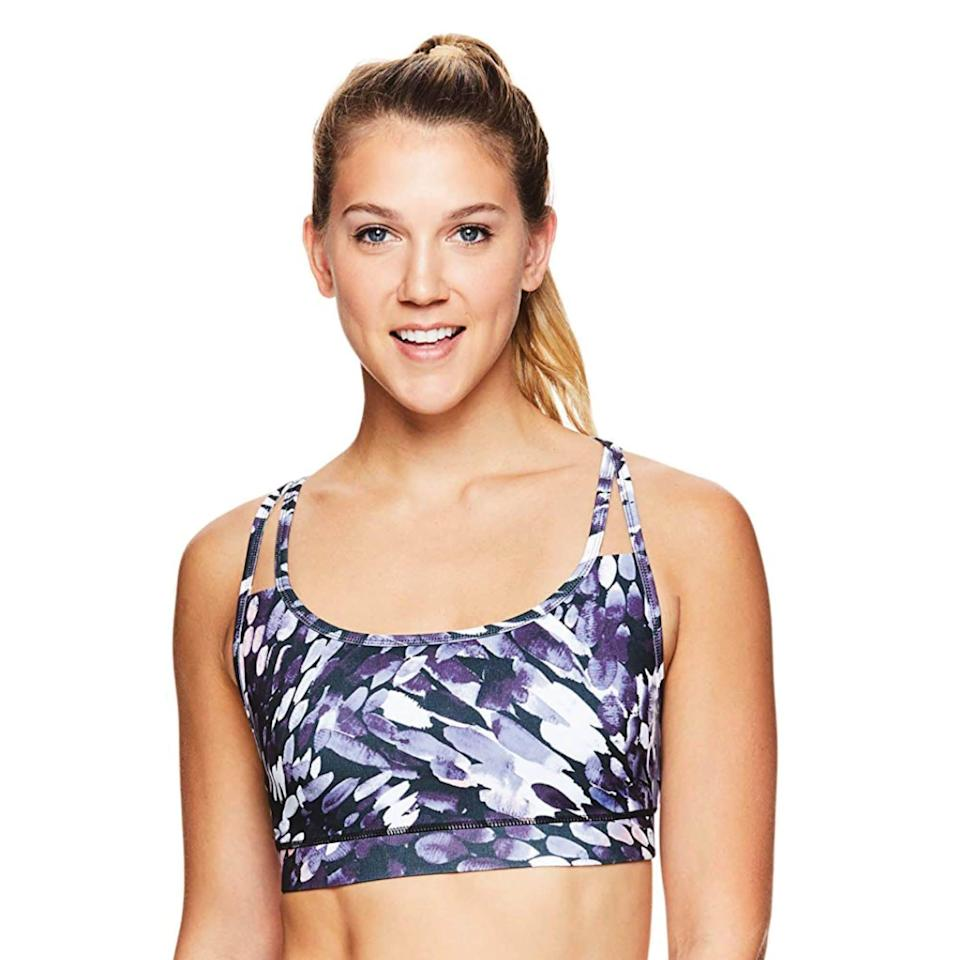 """<p><strong>Gaiam</strong></p><p>amazon.com</p><p><a href=""""https://www.amazon.com/dp/B07NF5LCF1?tag=syn-yahoo-20&ascsubtag=%5Bartid%7C2142.g.36448024%5Bsrc%7Cyahoo-us"""" rel=""""nofollow noopener"""" target=""""_blank"""" data-ylk=""""slk:Shop Now"""" class=""""link rapid-noclick-resp"""">Shop Now</a></p><p>Gaiam's workout bras are free of any pesky poking wires but still provide enough support that you can feel good in. Talk about a win-win. </p>"""