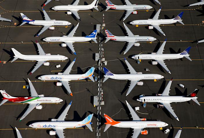 Grounded Boeing 737 MAX aircraft are seen parked in an aerial photo at Boeing Field in Seattle, Washington, U.S. July 1, 2019. Picture taken July 1, 2019.  REUTERS/Lindsey Wasson     TPX IMAGES OF THE DAY