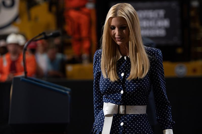 Ivanka Trump wore a blue polka dot dress to visit a steel mill in Illinois in 2018. (Photo: Getty Images)