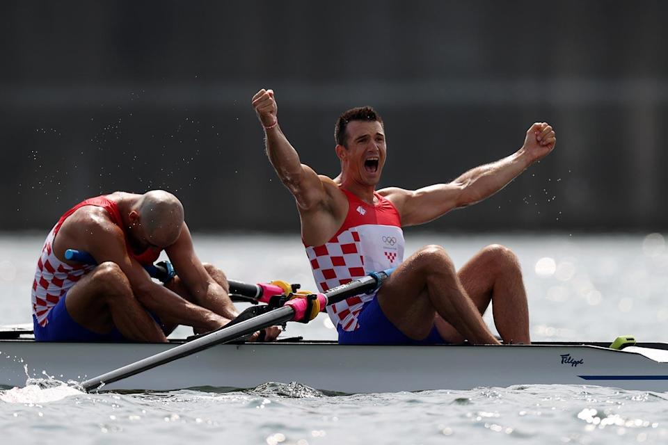 <p>Gold medalists Martin Sinkovic and Valent Sinkovic of Team Croatia take top prize in the Men's Pair Final A at Sea Forest Waterway on July 29.</p>
