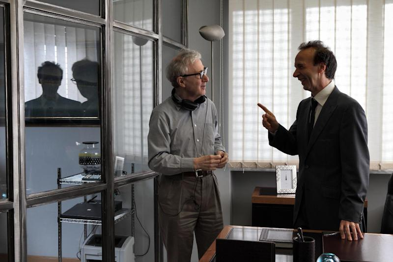 """This film image released by Sony Pictures Classics shows, director Woody Allen, left, and Italian actor Roberto Benigni during the filming of """"To Rome With Love."""" (AP Photo/Sony Pictures Classics, Philippe Antonello)"""