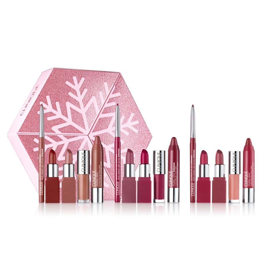 "This set will really get you and yours through the season! It has lip liners and lip glosses in the trendiest holiday shades (nude, pink, and plum), for a total of fifteen products to give (or keep!).  <em>—Erica Bonsness, Specialty Beauty Advisor for Clinique at Ulta Beauty Bismarck, ND</em> $50, Ulta. <a href=""https://www.ulta.com/lip-looks-give-get-set?productId=pimprod2010359"">Get it now!</a>"